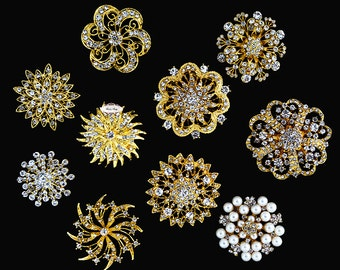 Rhinestone Pearl Gold Brooch Pin Supply Flatback large Jewelry Hair Comb Shoe Clip Wedding Brooch Bouquet Cake Supply Wholesale 10pcs