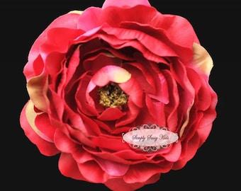 HOT PINK Silk Ruffle Ranunculus Artificial Silk Flower