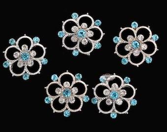 SALE 10 Aqua Teal Rhinestone Buttons - Metal - Flatback Rhinestone Buttons -Rhinestone Embellishments - Hairbow Supplies - Wedding Supplies