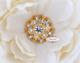 5pcs RD154 Clear Rhinestone Gold Metal Flat Back Embellishment Buttons flowers invitations favors bouquets napkins accessories hair clips