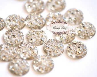 20pcs Rhinestones Flat Back Embellishment Buttons flowers invitations favors bouquets napkins accessories hair clips RD129