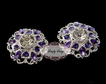 5pcs RD154 Lavender Rhinestone Silver Metal Flat Back Embellishment Button Brooch Bridal Wedding Hair invitations Crystal bouquets