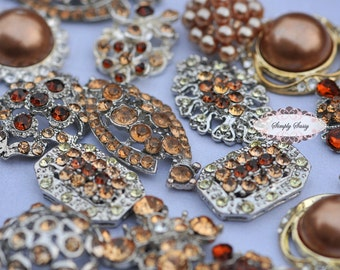 10pc Chocolate Brown Assorted Rhinestone Flat back Embellishments DIY Brooches Crystal Buttons Wedding Bouquet Favors Invitations Bling