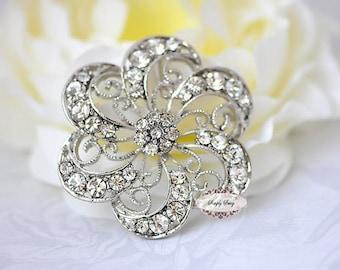 Rhinestone Brooch Embellishment - Flatback - Rhinestone Broach - Brooch Bouquet - Supply - Wedding Jewelry Supply - RD242