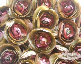 2 pcs Chocolate Brown Ranunculus Soft Silk Artificial Flower Heads Color 3.5in DIY Bouquets Arrangements Hair Clips Wedding