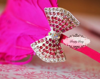 Rhinestone Crystal Bow in PINK Flatback Metal Brooch Embellishment Adornment - Add a Pin Clip to Bouquet Gifts Favors Invitations Frames