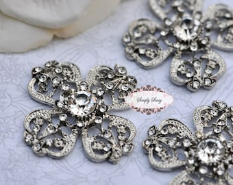 3 pcs RD136 Rhinestone Metal Flatback Embellishment Button Brooch Bridal accessories invitations crystal bouquet flowers hair clip comb