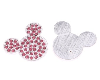 Pink Rhinestone Crystal Bling Mouse Flatback Metal Embellishment RD362 Hair Bows Minnie Clips Accessories Invitations Frames