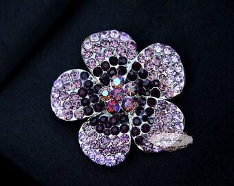 Amethyst Rhinestone Brooch Embellishment - Flatback - Rhinestone Broach - Brooch Bouquet - Supply - Flower - Wedding Jewelry Supply - RD252