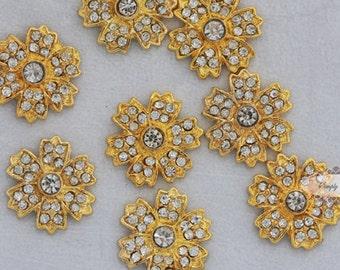 RD172 20pcs  Rhinestone Flatback Metal Glass Crystal Embellishments wedding bridal invitations DIY buttons