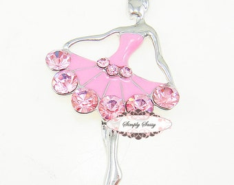 3pcs PINK Rhinestone Crystal Bling Ballerina Flatback Metal Embellishment Adornment Add to Favors Accoessries Invitations Frames
