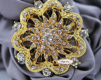 Gold Rhinestone Brooch Embellishment - Crystal Brooch Embellishment - Brooch Bouquet Supply - Flatback Jewelry Supply Invitation Supply RD74