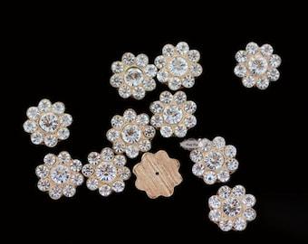 10pcs Gold Rhinestone Flatback Buttons DIY Wedding Bridal Wedding Hair Clips Accessories RD421