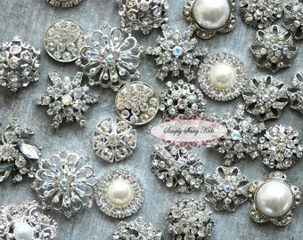 SALE 10pc Rhinestone Buttons DIY Craft Flower Centers Brooches Crystal