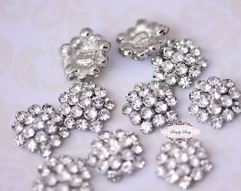 Rhinestone Metal Flatback Embellishment Button CLEAR 20pcs RD64 Crystal DIY invitations flowers weddings bouquet brooch bling