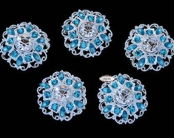 5pcs RD154 Turquoise Aqua Teal Rhinestone Metal Flat Back Embellishment Bridal Wedding Hair invitations favors bouquets napkins hair clips