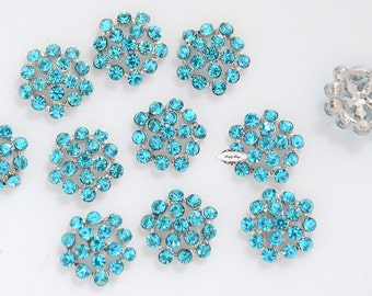 10 or 20 Turquois Teal Rhinestone Button Flatback Metal  Brooch Embellishment Crystal Wedding Brooch Bouquet Cake Hair  RD76t Turquoise
