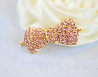 Pink Gold Rhinestone Flatback Crystal Bow Connector Embellishment Flatback DIY Jewelry Hair Bridal Wedding Gift Craft Supplies
