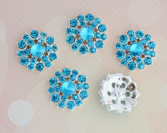 5 Teal Rhinestone Flat Back Buttons - Flatback Buttons - Rhinestone Embellishment Button - Brooch Bouquet Wedding Jewelry Hair bows Cakes