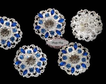 5pcs RD154 Blue Rhinestone Silver Metal Flat Back Embellishment Bridal Wedding Hair invitations favors bouquets napkins hair clips