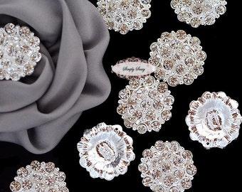 10 Large Rhinestone Button Flatback Brooch Embellishment Crystal Wedding Brooch Bouquet Cake Hair Comb Clip RD130