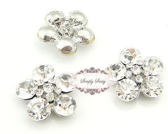 10 pcs RD87 Clear Rhinestone Glass Metal Flat Back Embellishment Buttons Wedding Bridal DIY Brooches Hair Pins