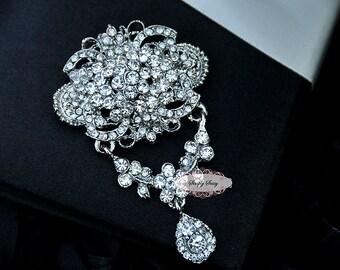 Rhinestone Brooch Embellishment - Flatback - Rhinestone Broach - Brooch Bouquet - Supply - Wedding Jewelry Supply - RD241