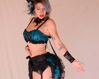Teal and Black Lace Burlesque Outfit,Masquerade Ball,Burning Man Outfit,Festival Costume,Sexy Teal Costume,Steampunk Outfit, Gogo Dancer
