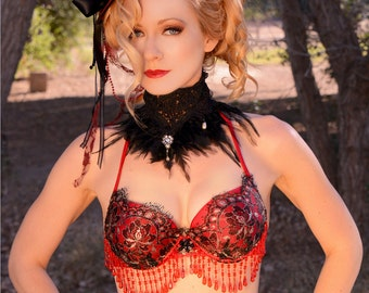 Sweetheart Red Beaded Bra Top, Red, Black and Silver Lace Halter Bra Top, Burlesque,Belly dance, GoGo Dancer,Masquerade,Renaissance