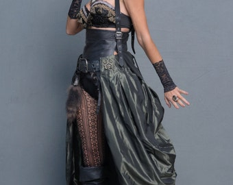 Steampunk Long Formal Greenish Pewter Bustle with Metallic Appliqués,Unique Pewter Bustle,Masquerade,Goth,Renaissance,Pirate Wrench
