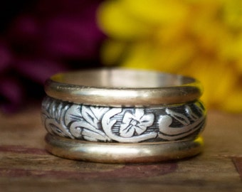 Unique Women's Wedding Band in Sterling Silver and 14k Gold Mixed Metal Wedding Band Wedding Ring Set Wedding Ring Unique Wedding Ring
