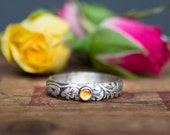 Sterling Silver Gemstone Ring -  Floral Band - Stacker - Sterling Silver Engagement Ring Unique Engagement Ring November Birthstone Citrine