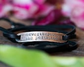 Nevertheless, She Persisted Sterling Silver Wrap Bracelet - Rustic Silver - Feminist Resistance - Supports Planned Parenthood