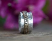 Personalized Mixed Metal Spinner Ring - Coordinates Ring - Unique Hammered Spinner Ring - 14k Goldfilled or 14k Gold and Sterling Silver