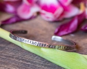 Nevertheless, She Persisted Sterling Silver Cuff Bracelet - Rustic Silver - Feminist Resistance - Supports Planned Parenthood