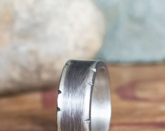 Men's Rustic Wedding Band, Size 15+ Heavy Sterling Silver Ring Size