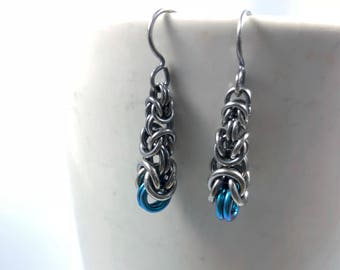 Graduated Byzantine Oxidized Sterling Silver with Teal Anodized Niobium Earrings Chainmaille