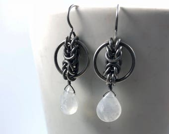 Niamh Earrings Oxidized Sterling Silver with Natural Moonstone