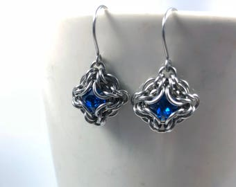 Elizabeth Earrings Surgical Stainless Steel with Swarovski Crystal Capri Blue Chainmaille