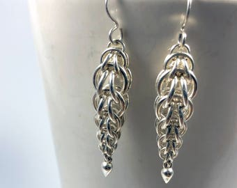 Anahita Earrings Sterling Silver Graduated Foxtail Chainmaille Teardrops