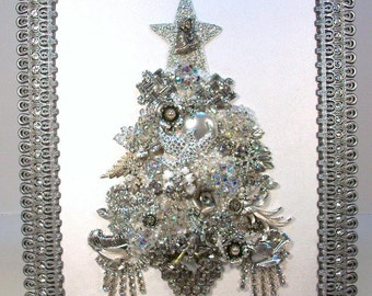 SOLD....Do Not Purchase....Framed Collage Vintage Jewelry CHRISTMAS TREE...Clear Rhinestones w/ Madonna and Child