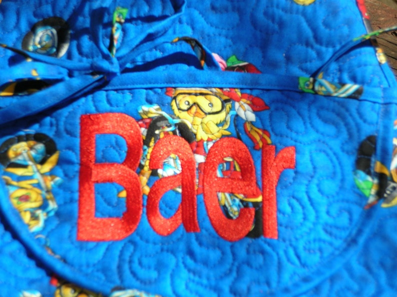 BIKER CHICKS Monogrammed Apron Quilted Bib Style Handmade Personalized