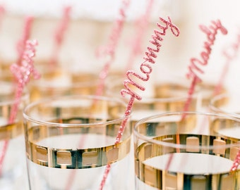 Name Stir Sticks Personalized, Wedding Bachelorette Bridal Baby Shower Party Drink Stirrer Bar Swizzle Names Decor or Gold (Item - NPS110)