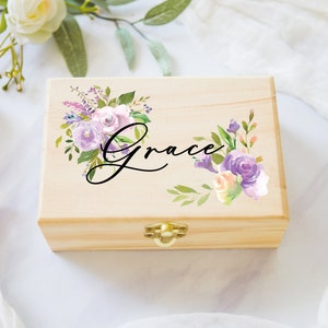 Engraved 4 Square Keepsake Box Jewelry Box Bridesmaids Personalized Flower Girl Birthday Gift for Her
