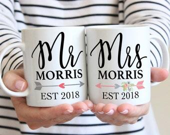 Couple Mug Set of 2 Mugs Gift for Couples Mr & Mrs Last Name, Coffee Mugs Valentine's Gift, Wedding Anniversary Gift (Item -  PMR800)