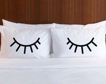 Pillowcases for Bedroom, Gift for Bed Pillows, Eyelids Shut Eye Eyelash Pillow Case Set for Her Girls Bedroom Home Decor (Item - PEY400)