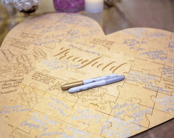 Wedding Guest Book Puzzle Heart Personalized with Wedding Logo or Monogram Choice Custom Wedding Guestbook Alternative (Item - GBP200)