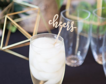 "Party Stir Sticks ""Cheers!"" Glitter Wedding, Engagement Bachelorette Bridal Wedding Drink Stirrer Bar Party Decor Glitter (Item - CSS110)"