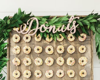 Donuts Sign for Wedding or Party Decor and Dessert Table, Donut Bar Hanging Sign Display Cutout Donuts Custom Colors (Item - DOP200)