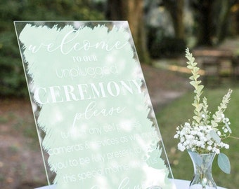 Custom Sign Painted Clear Acrylic Sign, or Unplugged Ceremony for Wedding or Party, Your Text Sign Acrylic Wedding Sign (Item - PCU621)